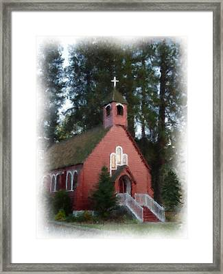 Little Red Church Painting Framed Print by Cindy Wright