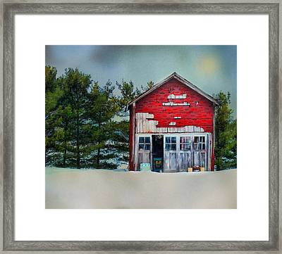 Framed Print featuring the photograph Little Red Shed by Mary Timman