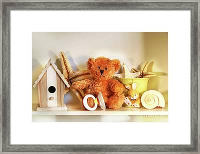 Little Rusty Teddy Bear Framed Print by Sandra Cunningham