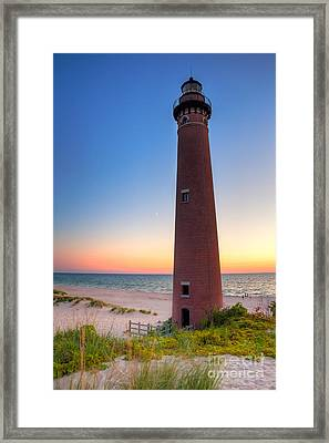 Framed Print featuring the photograph Little Sable Point Light Station by Larry Carr