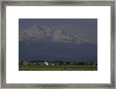 Little Shasta Church With Mt. Shasta Framed Print by Phil Schermeister