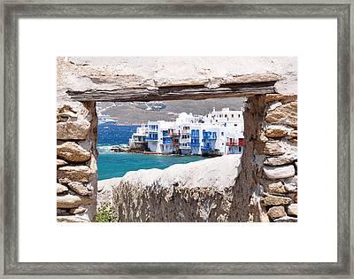 Little Venice - Mykonos Framed Print by Laura Melis
