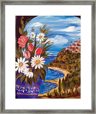 Framed Print featuring the painting Little Village by Roberto Gagliardi