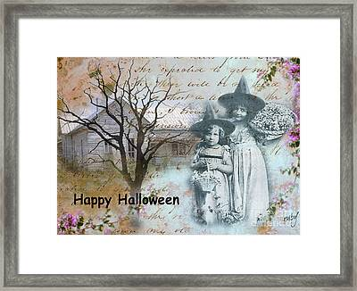 Little Witches Blue Framed Print