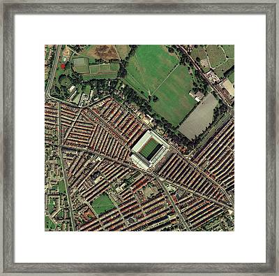 Liverpool's Anfield Stadium, Aerial View Framed Print by Getmapping Plc