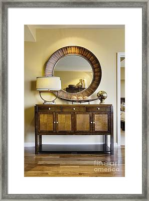 Living Room Cabinet With Mirror Framed Print