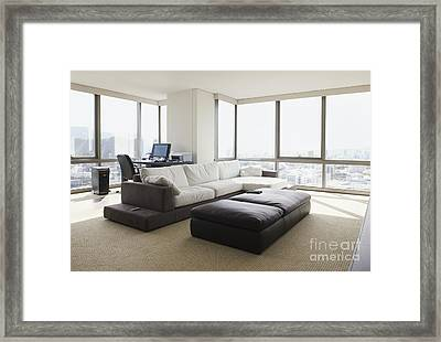 Living Room With A City View Framed Print