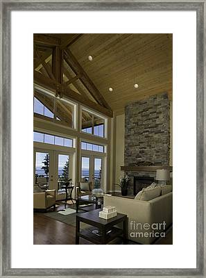 Living Room With Cathedral Ceiling Framed Print