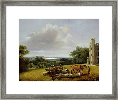 Loading A Timber Wagon At Cave Castle Yorkshire Framed Print by George Arnald