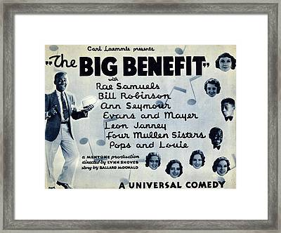Lobby Card For The Big Benefit Shows Framed Print