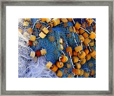Lobster Buoys Framed Print by Karen Wiles