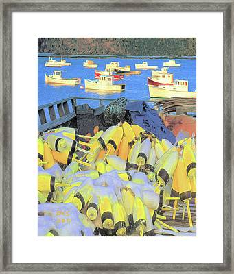 Lobster Buoys Framed Print by Richard Stevens