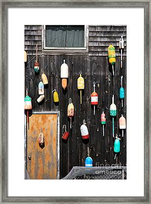 Framed Print featuring the photograph Lobster Shack With Brightly Colored Buoys by Karen Lee Ensley
