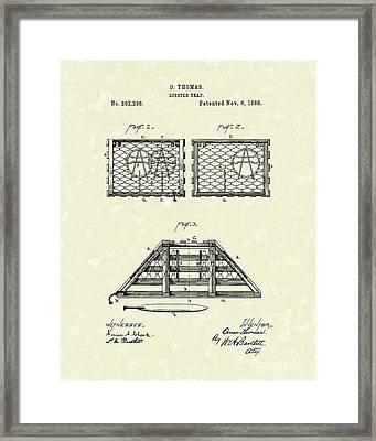 Lobster Trap 1888 Patent Art Framed Print