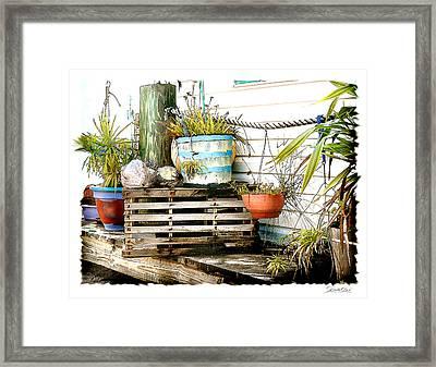 Lobster Trap Framed Print by Linda Olsen