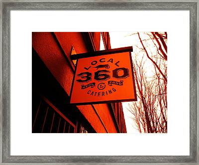 Local 360 In Orange Framed Print by Kym Backland