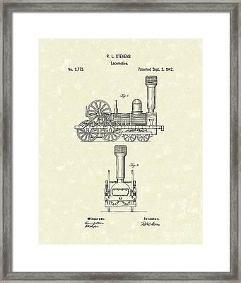 Locomotive 1842 Patent Art Framed Print by Prior Art Design