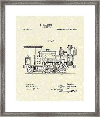 Locomotive 1886 Patent Art Framed Print by Prior Art Design