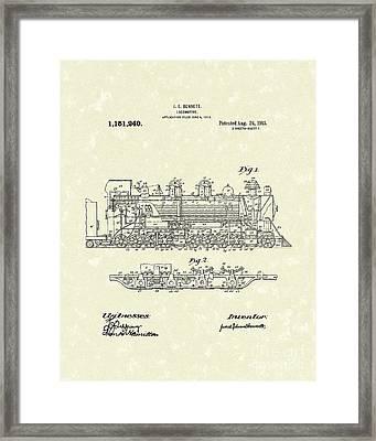Locomotive 1915 Patent Art Framed Print by Prior Art Design