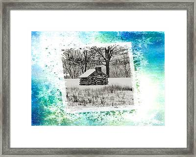 Log Cabin Christmas Card Framed Print by Bill Cannon