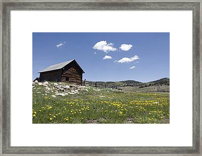Log Cabin On The High Country Ranch Framed Print by Rich Reid