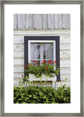 Log Home And Flower Box In The Window Framed Print