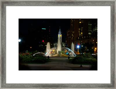 Logan Circle Fountain With City Hall At Night Framed Print by Bill Cannon