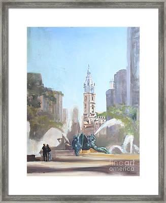Logan Fountain And City Hall Framed Print by Peg Ott Mcguckin