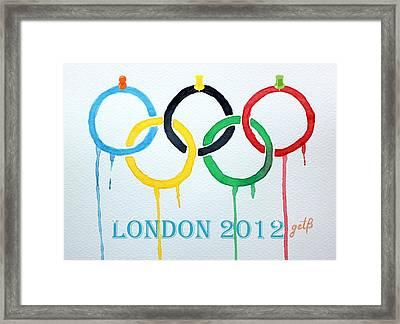 London 2012 Summer Olympics Logo Watercolor Framed Print by Georgeta  Blanaru