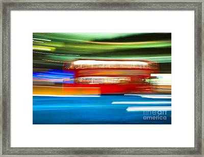 Framed Print featuring the photograph London Bus Motion by Luciano Mortula
