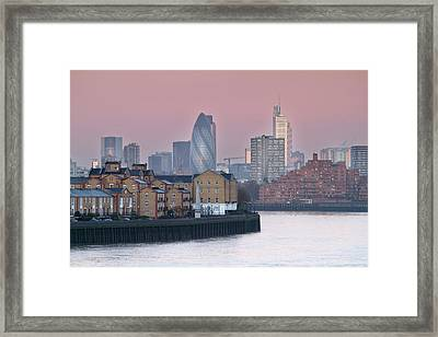 London City View Down Thames Framed Print by SarahB Photography