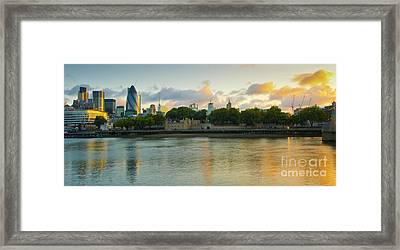 London Cityscape Sunrise Framed Print by Donald Davis