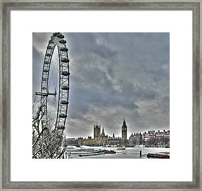 London Eye And Parliament Framed Print by Jack Schultz