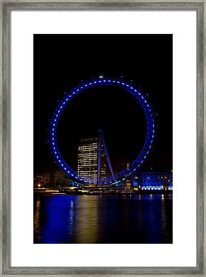 London Eye And River Thames View Framed Print by David Pyatt