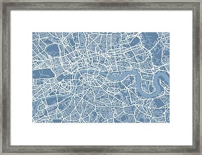 London Map Art Steel Blue Framed Print by Michael Tompsett