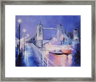 London Night Framed Print by Nelya Shenklyarska