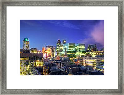 London Skyline At Night Framed Print by Gregory Warran