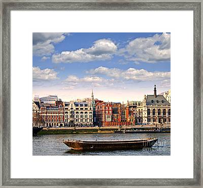London Skyline From Thames River Framed Print by Elena Elisseeva