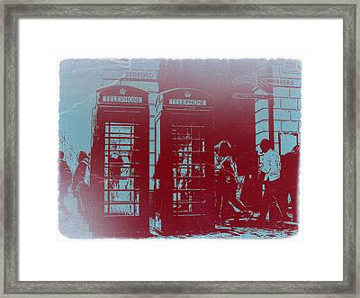 London Telephone Booth Framed Print by Naxart Studio