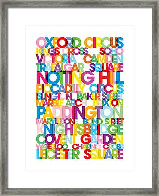 London Text Bus Blind Framed Print