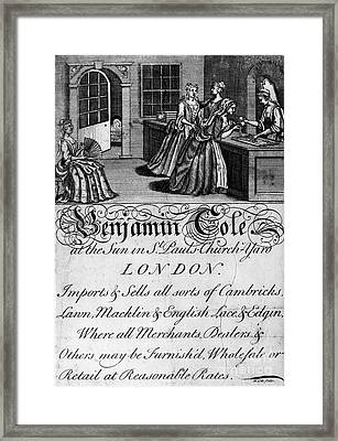 London: Trade Card. 1700s Framed Print by Granger