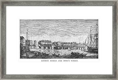London: Waterfront, 1750. /nlondon Bridge And Dyers Wharf. Wood Engraving After A Painting By S. Scott, C1750 Framed Print by Granger