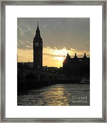 London's Golden Glow Framed Print by Louise Peardon