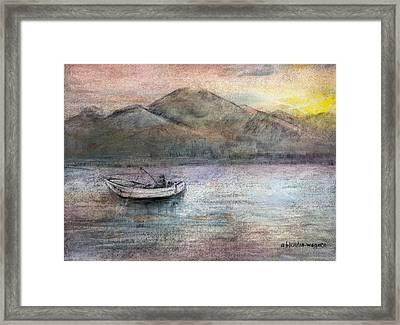 Lone Fisherman Framed Print by Arline Wagner