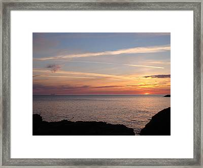 Framed Print featuring the photograph Lone Freighter On Up by Bonfire Photography