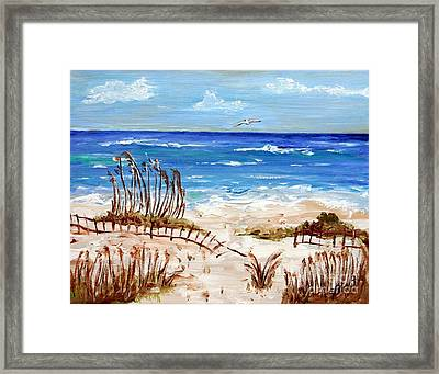 Framed Print featuring the painting Lone Gull by Jeanne Forsythe
