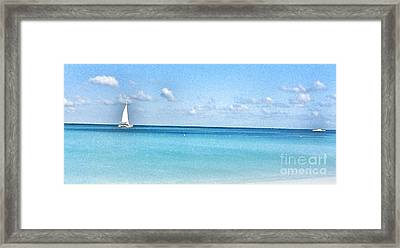 Lone Sailboat Framed Print by Diana Riukas