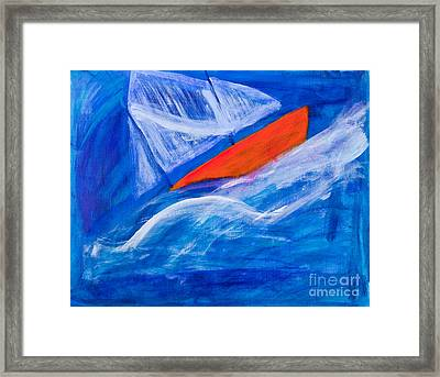 Lone Sailing Boat At Sea Framed Print by Simon Bratt Photography LRPS