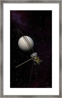 Lone Sentinel At Saturn  Framed Print
