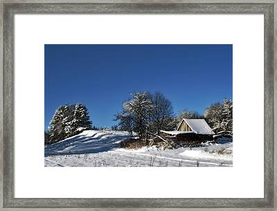 Lonely Rural Log Hut Brought By Snow Framed Print by Aleksandr Volkov